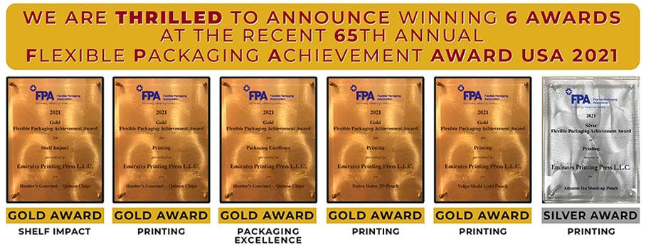 Winning of 6 awards at the recent 65 th Annual FPA, Flexible Packaging Achievement Awards USA 2021 | Emirates Printing Press LLC